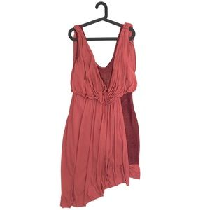 Free People Red Elanore Draped Contrast Dress L